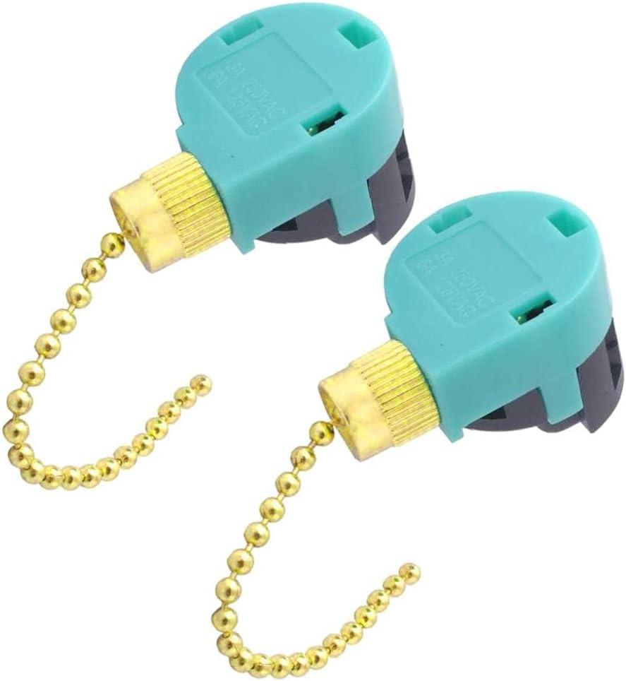 Hainice El Interruptor de la Cadena de tirón del Ventilador de 2 Piezas de la Cadena de 3 velocidades del Cable de 4 Alambre para la lámpara de Techo Dorada