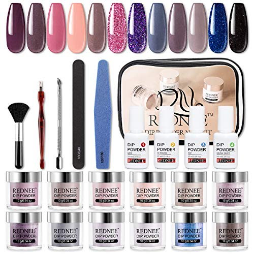 REDNEE Dip Powder Nail Kit Starter 12 Colors with Gel Liquid and Manicure Tools Dipping Essential Travel Kit - RE07 Classy Color