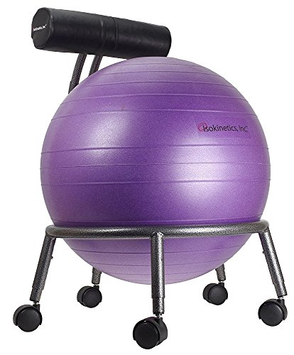 Isokinetics Inc. Brand Adjustable Fitness Ball Chair - Silver Flake on Black Metal Frame Finish - Exclusive: 60mm (2.5') Wheels - Adjustable Base and Back Height - with Purple 55cm Ball and a Pump