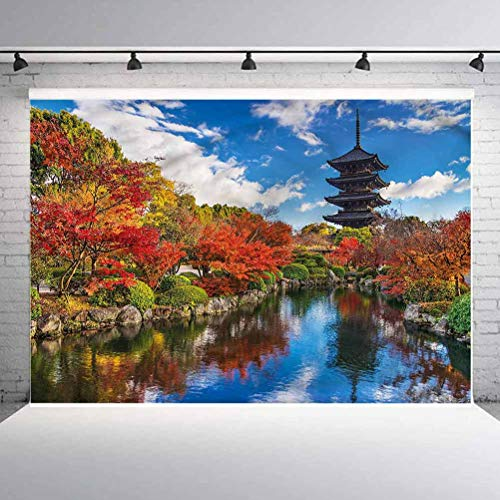 8x8FT Vinyl Backdrop Photographer,Japanese,Pagoda Kyoto Fall Season Background for Baby Birthday Party Wedding Studio Props Photography