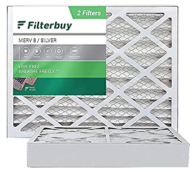 FilterBuy 16x20x4 Air Filter MERV 8, Pleated HVAC AC Furnace Filters (2-Pack, Silver)