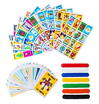 Loteria Mexican Bingo Game Kit - Bilingual Loteria Game for 10 Players - Includes 1 Deck of Cards and Boards - with 140 Bingo Chips - for The Entire Family - Great for Learning Spanish