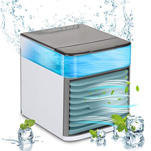 Portable Air Conditioner Fan - USB Powered Air Cooler Unit, Personal Space AC with Humidifier and Purifier Function, 7 LED Lights, 3 Speeds for Home, Office, Bedroom, Camping and Car