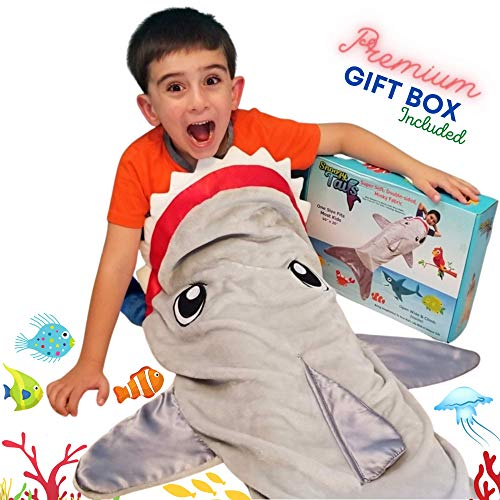 Shark Tail Animal Blanket for Boys. Soft Plush Shark Sleeping Bag Blanket for Kids. Blankie Fun Fin Gray Sleeping Bag. Snuggle Double-Sided Minky Fabric Throw. Warm and Cozy Gift for Boys Kids