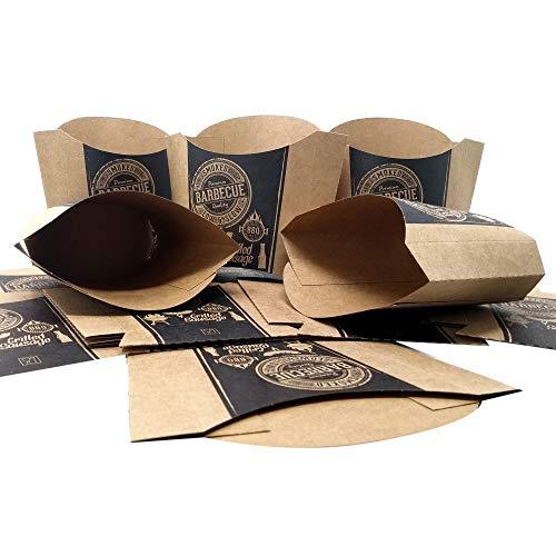 ToCis Big BBQ 24 Stück Pommes-Schalen aus Pappe | Grill Party Einweg-Geschirr | Pommes-Tüten im Black BBQ Vintage-Design