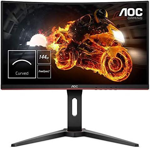 AOC Gaming C24G1 - 24 Inch FHD Curved Monitor, 144Hz, 1ms, VA, AMD FreeSync, Height Adjust, FlickerFree (1920 x 1080 @ 144Hz, 250cd/m², HDMI 1.4 x 2, DisplayPort 1.2 x 1, VGA)