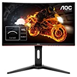 "AOC C24G1 - Monitor Gaming Curvo de 24"" con Pantalla Full HD e-Sports (VA, 1ms, AMD FreeSync, 144Hz, Sin Marco, Ajustable en altura y FlickerFree), Color Negro/Rojo"