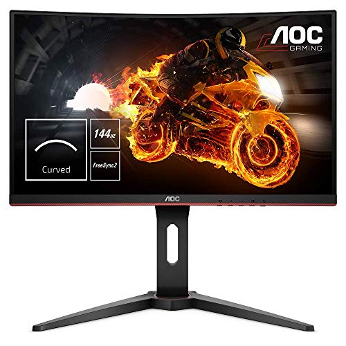 "AOC C24G1 - Monitor gaming curvo sin marcos de 24"" Full HD e-Sports (1920x1080, VA, 1 ms, 144 Hz, 1500R, AMD FreeSync, Ajustable en altura y FlickerFree), Color Negro/Rojo"