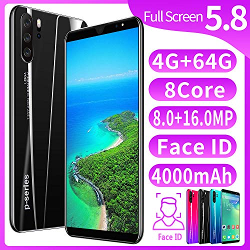 XGLL Pantalla Completa 5.8 Pulgadas Smartphones, 8.0MP + 16.0MP 4GB RAM + 64GB ROM 4000Mah Batería De Iones De Litio Dual SIM Teléfono Móvil,Negro