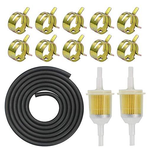 Benzinschlauch 5mm kit inkl Kraftstoffleitung 2M/ Benzinfilter 5mm 2 Stück/Schlauchschellen 10 Stück für PKW Auto Motorrad Rasenmäher Roller