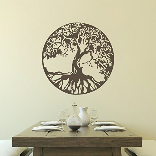 SCOOPTOUR WALL ART Tree Silhouettes Vinyl Decal-Celtic Tree of Life Sticker for Living Room Dining Room (X-Large,Dark Brown)