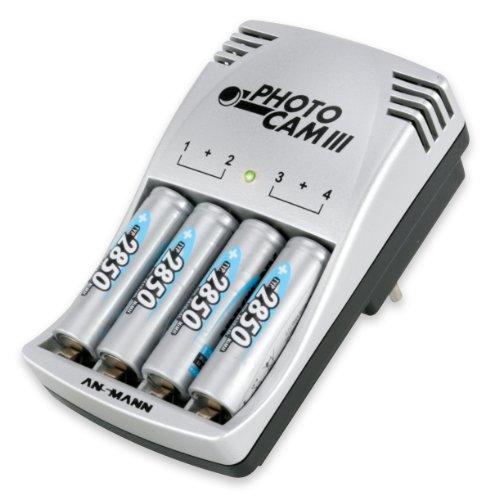 ANSMANN PhotoCam III Steckerladegerät für bis zu 4 NiMH- oder NiCd Akkus / Akkuladegerät für Micro AAA & Mignon AA / Mit Ladeanzeige Akku-Defekterkennung & Überladeschutz / inkl. 4 AA Akkus 2850