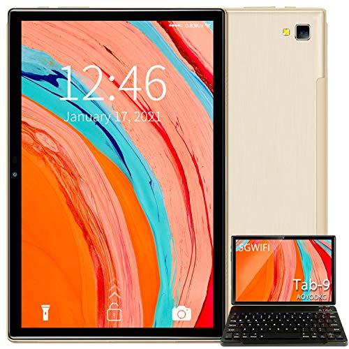 Tablet 10 Pulgadas 5G WiFi Android 10.0 Tableta con Procesador Quad-Core, 800 * 1280 FHD Display, 64 GB Ampliables hasta 128 GB, Teclado/Ratón/OTG/Bluetooth - Dorado
