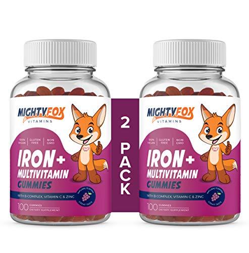Iron Gummies for Kids, Iron Supplements for Kids (200 Gummies) Contain Vitamin C, B-Complex (B3, B5, B6, B12), Vitamin A, Zinc, Biotin & Folid Acid - Natural Flavor, 100% Vegan, Gluten Free, Non GMO