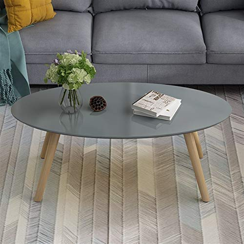 zhangmeiren Small Apartment Living Room Coffee Table Oval Coffee Table Paint Simple Mini Coffee Table (Color : Gray, Size : X-Large)