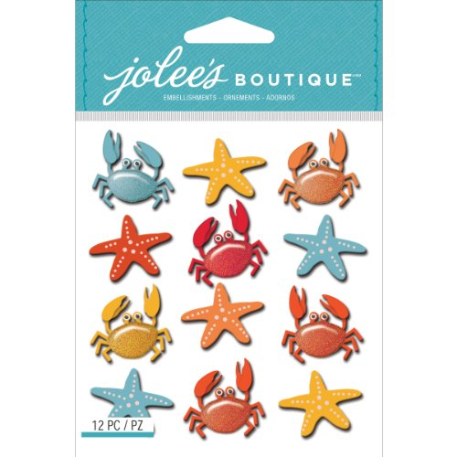 Jolee's Boutique Dimensional Stickers, Crabs and Starfish Repeats