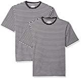 Amazon Essentials Men's Loose-Fit Short-Sleeve Stripe Crewneck T-Shirts, Black/Light Gray Heather, Large