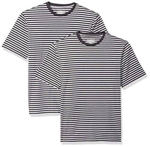 Amazon Essentials - Camiseta de manga corta holgada con cuello redondo y diseño a rayas para hombre, Negro/Gris jaspeado claro, Small, (Pack de 2)