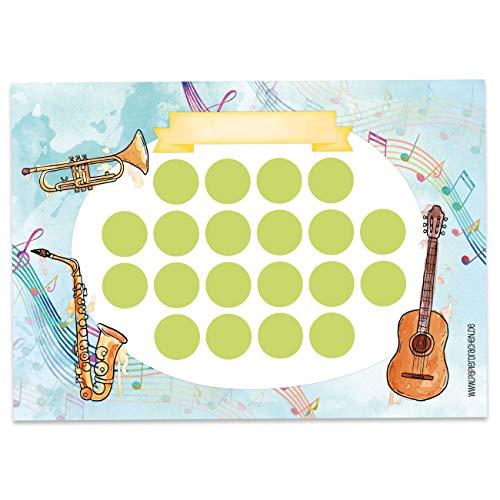 Papierdrachen Juego de tablero de recompensa para niños como bloc de 10 hojas, concepto motivador como ayuda educativa, con fantásticas pegatinas para niños y niñas, diseño de instrumentos 12