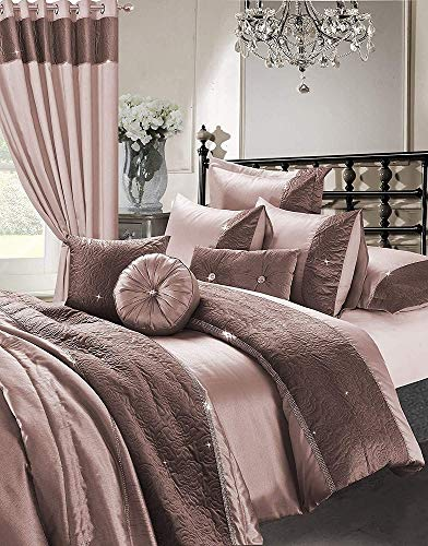 7 Pcs Diamante Bedroom Set Polyester Bedding Collection (Duvet Cover + Two Pillow Cases + Fitted Sheet + Cushion Cover + Filled Round Cushion + Filled Boudoir Cushion) - (Zina Rose Gold, Double)