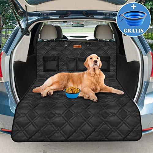 Looxmmer Universal Kofferraumschutz für Hunde, Kofferraumdecke Kofferraumschutzmatte Hundedecke mit Ladekantenschutz und Seitenschutz, Wasserdicht & rutschfest, Schwarz