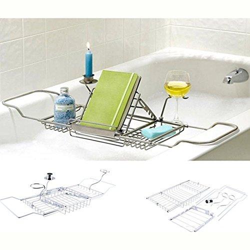 EBTOOLS badkuipbrug van metaal, uittrekbaar, houder voor badkuip, opslag van zeep, glas, boek, geurkaars, dienblad