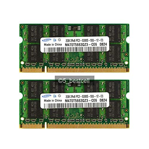 Samsung - Memoria RAM DDR2 (2 x 2GB, 667MHz, PC2 5300S, SO-DIMM, Samsung, Hynix o Micron)