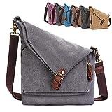 AmHoo Canvas Crossbody Bag for Women Genuine Leather Messenger Purse Handbags Shoulder Bag Hobo Totes Gray