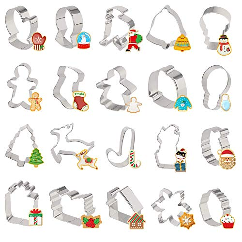 LOVEINUSA 20 PCS Christmas Cookie Cutters, Holiday Cookie Cutters Xmas Cookie Cutters Christmas Style Cookie Cutters for Xmas, Holiday, Wonderland Party Supplies, Favors