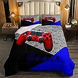 Juego de ropa de cama de juego de cama de doble tamaño con controlador de videojuegos, juego rojo, juego de cama de 3 piezas para niños, niñas, moderno juego de cama con 2 fundas de almohada
