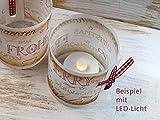Set 6 x Lichthülle für Tischlicht mit Karoband Advent Weihnachten handmade vintage look - 3