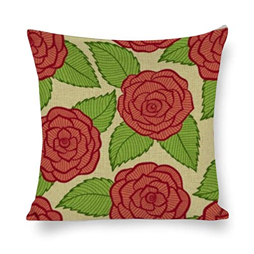 PeteGray Fundas de almohada sin costuras de encaje de rosas y hojas, 18 x 18 cm, decoración de casa de campo para sofá, sofá, salón, decoración para padre, funda de almohada para dormitorio,