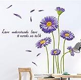 DERUN TRADING 3D Vinilos crisantemo Pegatinas Pared púrpura, Adhesivos Decorativos para la Pared, Adhesivas Pared Rama Decorativos para Habitación Dormitorio Sala de Estar
