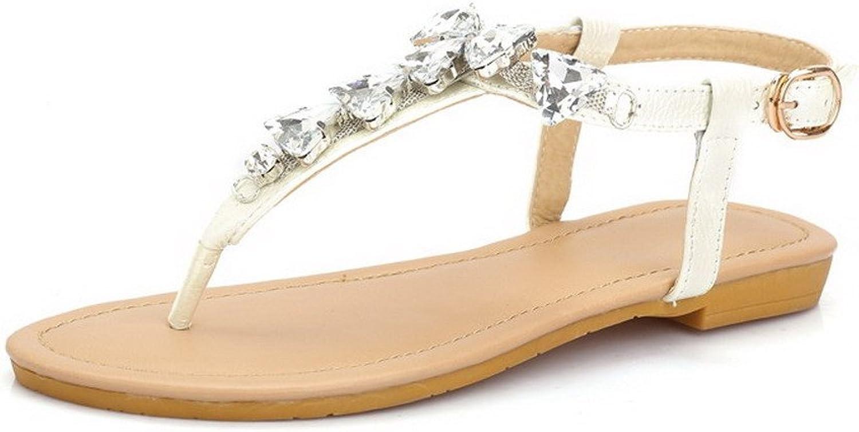 AmoonyFashion Women's Split Toe Buckle PU Solid Low Heels Sandals