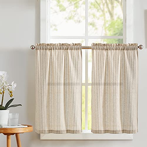 Vangao Kitchen Curtains Linen Tier Curtains Striped Cafe Curtains Privacy Tiers 24 inch Length Small Window Curtain Set Bathroom Living Room Rustic Country Curtains Taupe on Beige