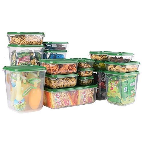 Conjunto de contenedores de Almacenamiento de Alimentos Tapa 16 en 1 Conjunto de hogar Nevera Frescura Organizador Establecer Caja de Almacenamiento Multifuncional LSUXIANFESDNGD