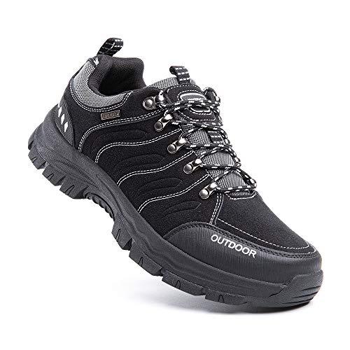 Zapatillas Trekking Hombre Antideslizantes Zapatos de Senderismo Transpirable Botas Montaña Bajas al Aire Libre 2 Negro Talla 42 EU