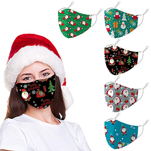Funny Christmas Reusable Face Cloth Mask for Adults,Ugly Santa Snowman Washable Adjustable Mouth Bandanas (5pack,(Style-2))