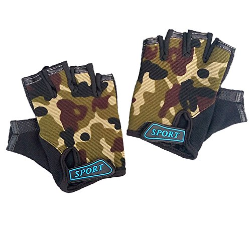 MARZE Kids Fingerless Camo Gloves Cycling Bike Sports Gloves for Boys Children Anti-Slip Breathable Camouflage Mittens