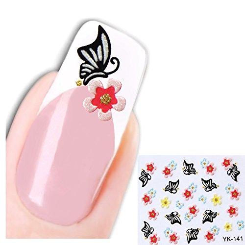 Just Fox – 3D Stickers New Design Butterfly papillons et fleurs pour ongles autocollants pour nail art