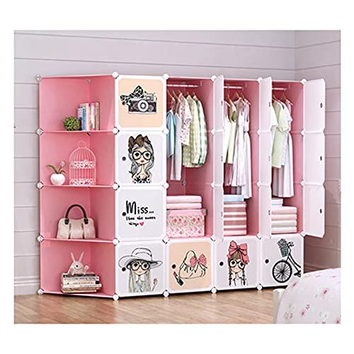 YUXI8541NO Armario de armario portátil para dormitorio de niños, armario portátil, organizador de cubos, estante de cubo de 72,8 x 18,5 x 147,1 cm, armario portátil rosa y blanco