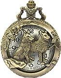 Reloj de Bolsillo Reloj de Bolsillo con Lobo, Steampunk Wolf Lobos Patrón Reloj de Bolsillo y Cadena de Cuarzo de Bronce para Hombre, Casa Stark of Winterfell of Game of Thrones