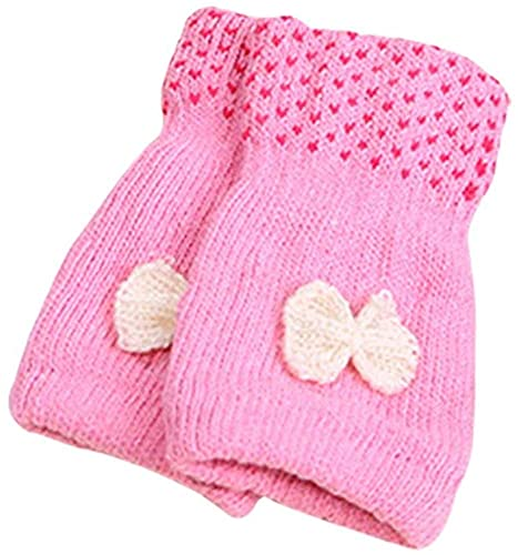GHCXY Unisex-Adult Mittens Womens Knitted Gloves Half Winter Finger Simple Gloves Glamorous Warm Knit Mittens,Pink,1710cm