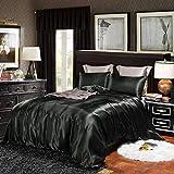 Black Bedding Silk Like Satin Duvet Cover Set Black Silky Microfiber Quilt Cover Solid Color Bedding Sets Queen 1 Duvet Cover 2 Pillowcases (Black, Queen)