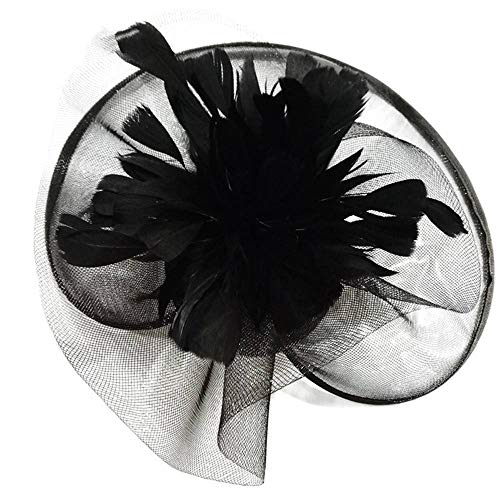 FHKGCD Sinamay Flower Fascinator Hat Diadema Mujer Cena Accesorios para El Cabello para Boda Iglesia Kentucky Ascot Race Headwear, Negro,