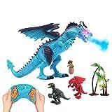 deAO Dinosaure télécommandé pouvant Marcher, rugir, cracher du feu et secouer la tête avec 3 Dinosaures Miniatures Inclus...
