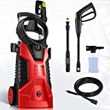 TEANDE Pressure Washer 3800PSI Electric Pressure Washer 2.8GPM Portable High Power Washer With Adjustable Spray Nozzle, Foam Cannon,For Cleaning Cars,Homes,Decks,Driveways,Patios (Red)