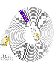 10 m Ethernet-kabel, snabbaste Cat7 platt Ethernet-kabel 600 MHz 10 GB höghastighetsinternetkabel, RJ45 nätverk LAN-kabel för alla RJ45-enheter – bakåtkompatibel Cat5e/Cat6a/Cat6 – gratis kabelklämmor-vit
