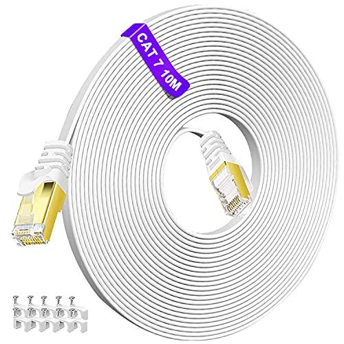 Cat7 Netzwerkkabel 10meter, Flach LAN Kabel 10m weiß, Hochgeschwindigkeits Ethernet Kabel, MEIPEK 10Gbps 600Mhz Internet Kabel, RJ45 Connector Patchkabel für Router, PS4/3, Switch, Modem, Patch Panel