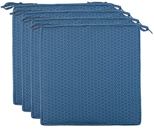 Brandsseller Outdoor Garten Sitzkissen Auflagen Kissen mit Paspel - Waben-Optik - Schmutz- und Wasserabweisend mit Befestigungsbändern - 40 x 40 x 4 cm - 4er Vorteilspack - Blau